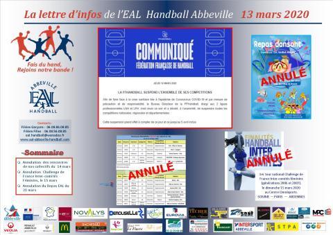 La Lettre d'infos EAL Handball Abbeville _ 13 mars 2020
