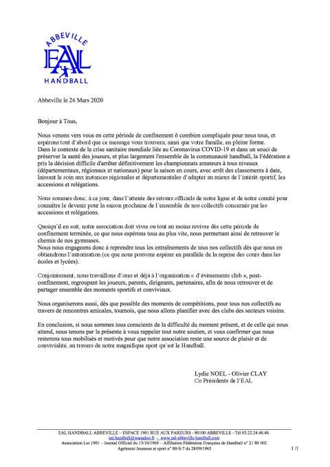La Lettre d'infos EAL Handball Abbeville _ 26 mars 2020