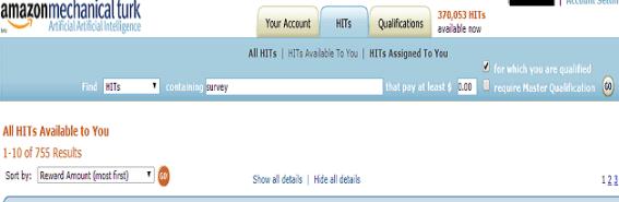 Mturk hit search option - Increase Mturk Earning