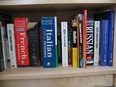 shelf of various language dictionaries