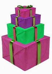 stacked wrapped gift boxes