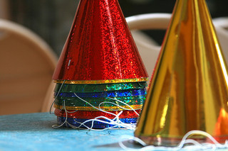 festive party hats set on table
