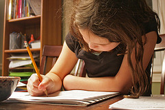 girl working on homework