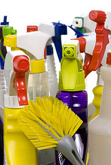 cleaning bottles and brush