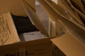 open cardboard moving boxes