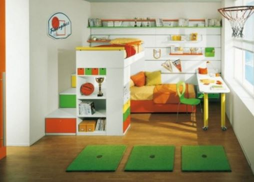 brightly decorated and organized kid's bedroom