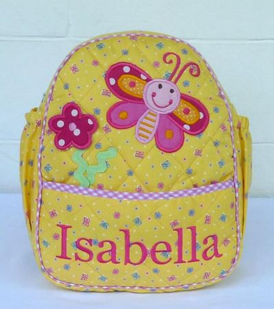 girls bag labeled with the name Isabella