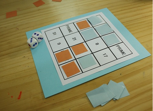 card with math game on it