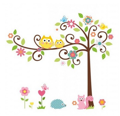 colorful tree with owls, cute animals