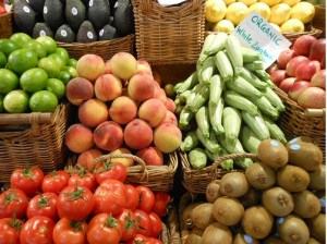 baskets of fruits and vegetables