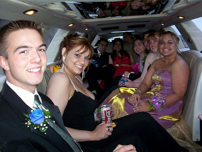 limo full of teens going to prom