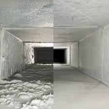 side by side comparison of clean and dirty air ducts
