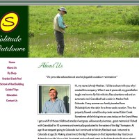 This is a basic site converted from an HTML site to a WordPress custom theme. The site design hasn;t changed, but the owner can now edit the site and easily use features like e-commerce. SolitudeOutdoors.com