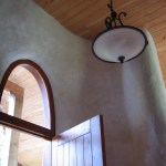 Straw bale walls finished with lime plaster