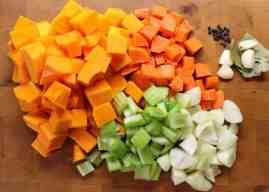 Soup prep- Diced squash, carrot, onion, garlic, peppercorns and ...