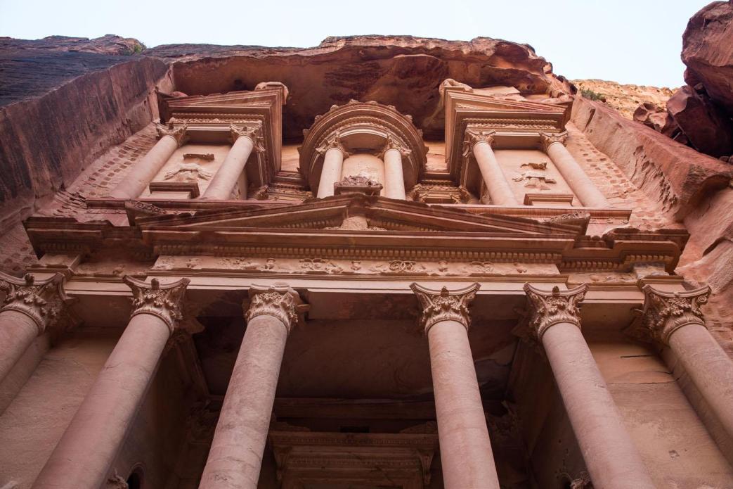 Looking Up at Petra Treasury