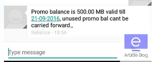 reliance 500 mb free data