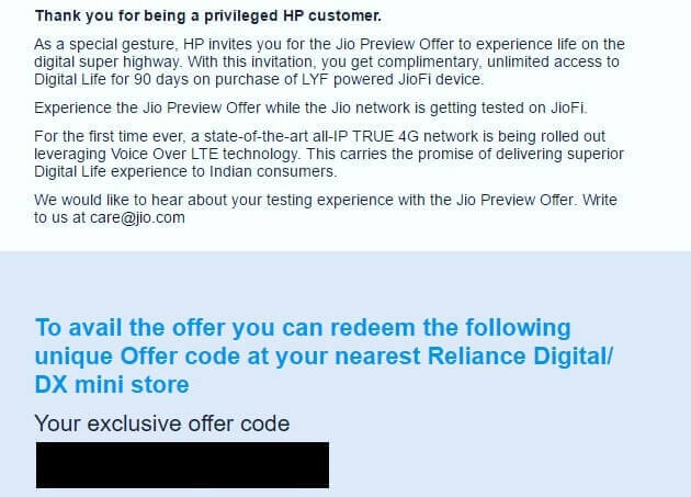 reliance jio hp offer