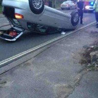 Spectacular car accident on Fair Oak Road