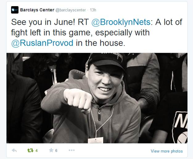 Ruslan Provodnikov with Brooklyn Nets owner Mikhail Prokhorov