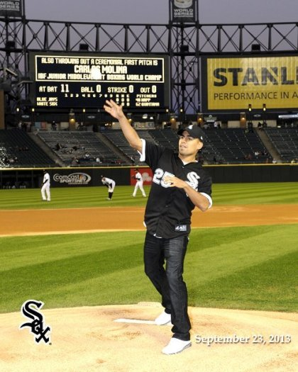 Carlos Molina Throws Out First Pitch at U.S. Cellular Field