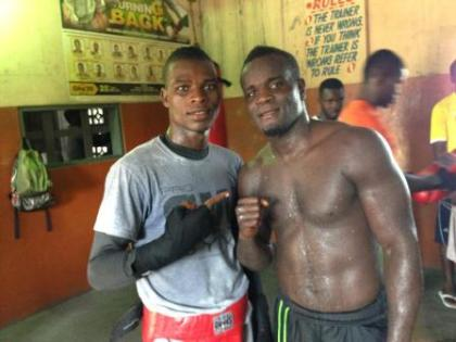 Commey sparring with Joshua Clottey ahead of Commonwealth eliminator