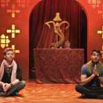 "(L-R) Keshav Kurundkar played by Christian Durso and Naveen Gavaskar played by Andy Gala pray to Hindu deity Ganesh in East West Players' ""A Nice Indian Boy."" Photo by Michael Lamont."