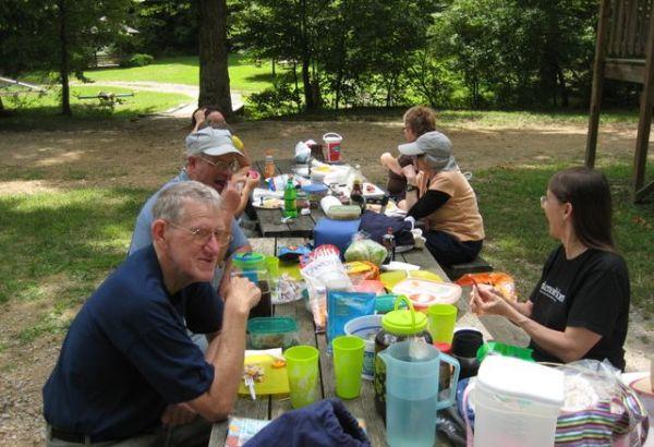 Enjoying a picnic feast
