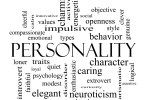 Personality Word Cloud Concept in black and white with great terms such as cheerful, character, behavior and more.