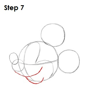 Draw Mickey Mouse Step 7