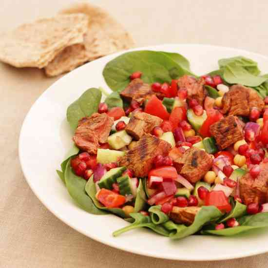 chickpea spinach and pomegranate salad harissa chickpeas with spinach ...