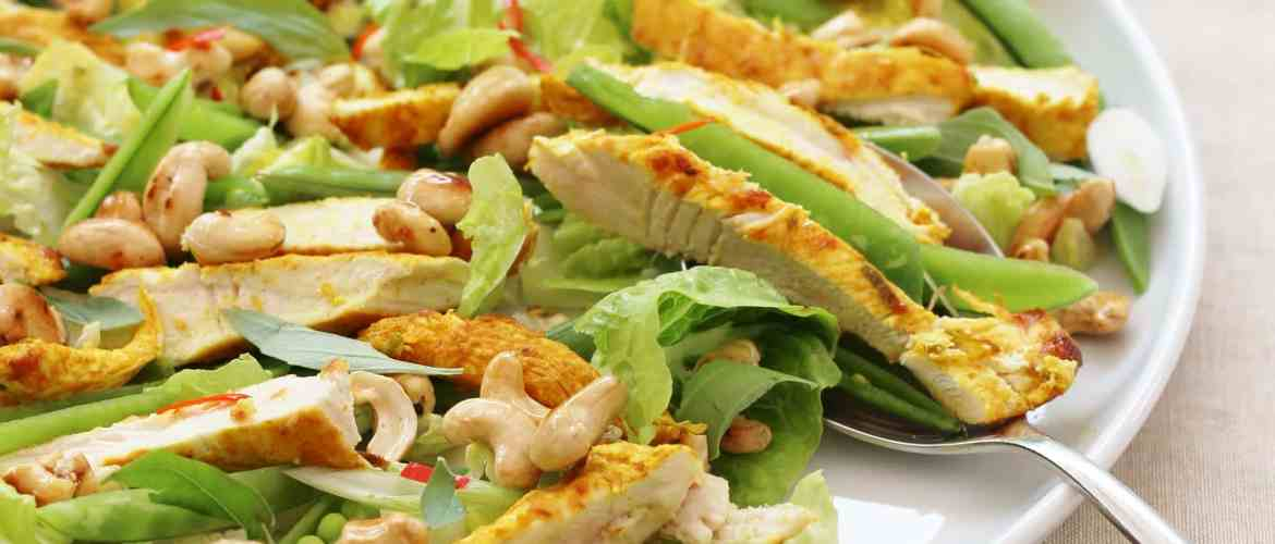 Thai Chicken Salad with Honey Drizzled CashewsEasy Peasy Foodie