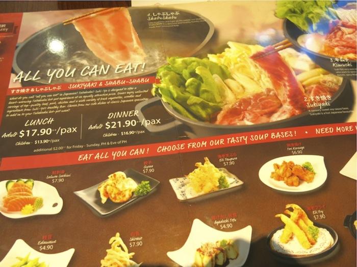 menu at Suki-ya