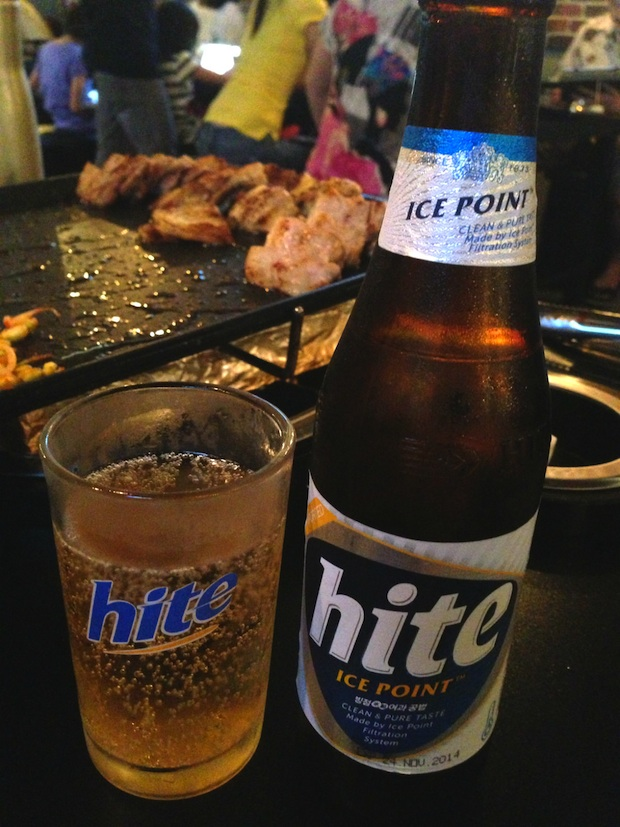 Eight Korean BBQ Hite Beer