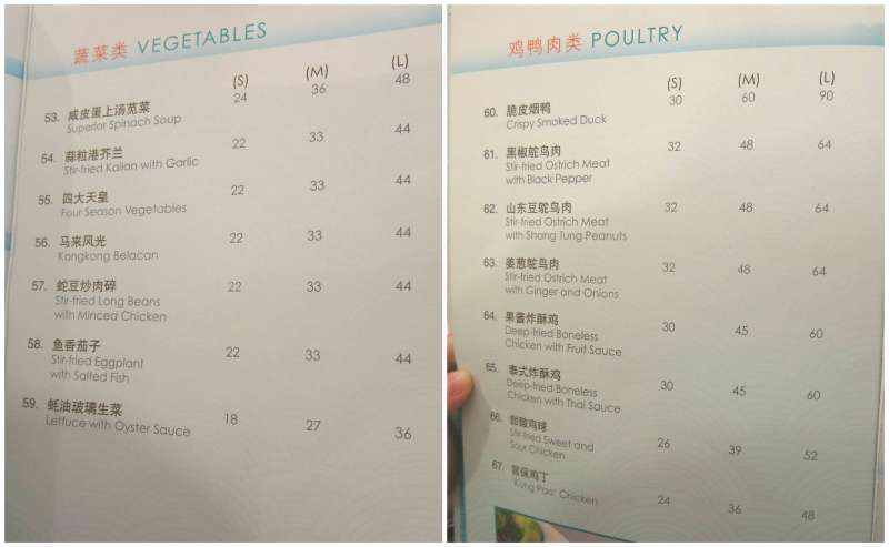 Resort Seafood Genting Highlands Vegetables and Poultry Menu
