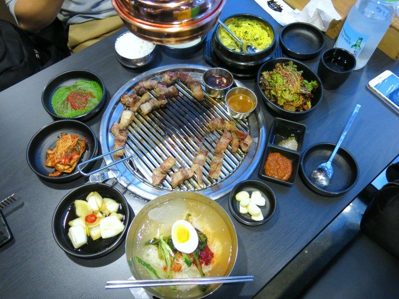 Korean BBQ spread at Loco Quan 401 Myeongdong
