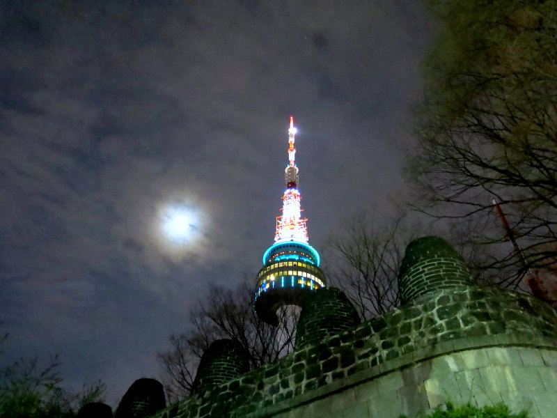 N Seoul Tower under the moonlight