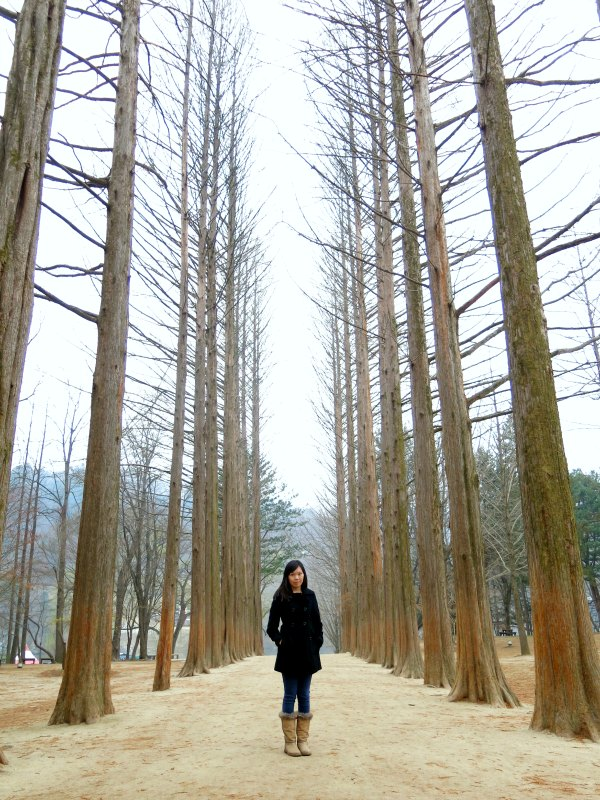 Girl posing with Redwood Trees