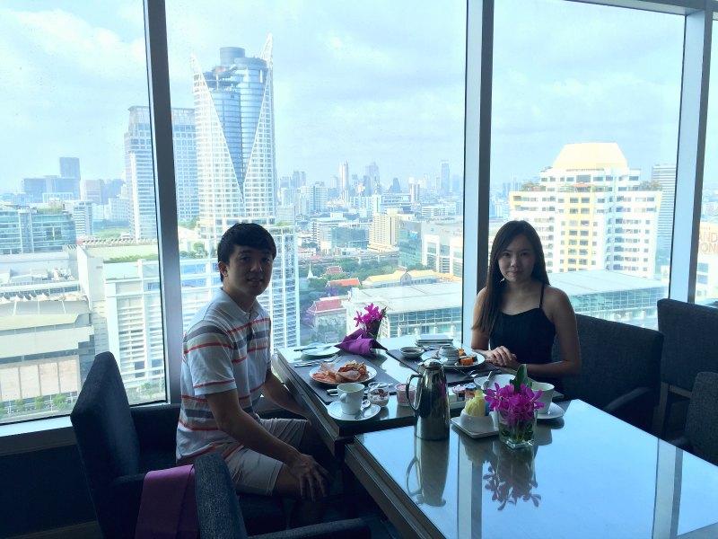 Evan and Raevian having breakfast
