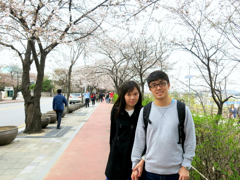 Evan and Raevian at Yunjunro Road with Cherry Blossom Trees