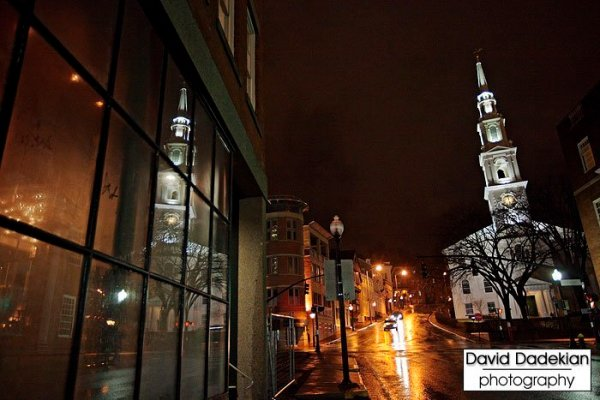 Looking up Steeple Street outside New Rivers' door