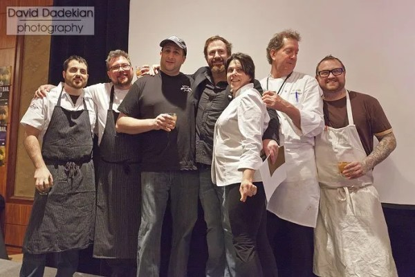 from left to right: Chef Barry Maiden of Hungry Mother, Chef Colin Lynch of Menton, Chef Steve Postal of Fenway Park, Cochon 555 founder Brady Lowe, Chef Barbara Lynch of Barbara Lynch Gruppo, Chef Tim Cushman of O Ya and Chef Jamie Bissonnette of Coppa and Toro