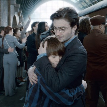 "SUNDAY CALENDAR AUGUST 7, 2011. DO NOT USE PRIOR TO PUBLICATION ******************** ARTHUR BOWEN as Albus Severus Potter (19 years later)  and DANIEL RADCLIFFE as Harry Potter in Warner Bros. Pictures' fantasy adventure movie ""HARRY POTTER AND THE DEATHLY HALLOWS - PART 2,"" a Warner Bros. Pictures release. Photo courtesy of Warner Bros. Pictures"