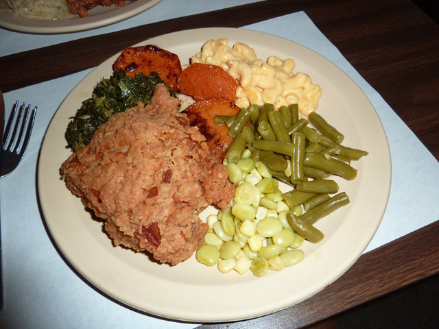 my plate of Southern food at The Old Place in Bear Creek NC