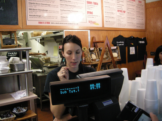 checking out at the counter