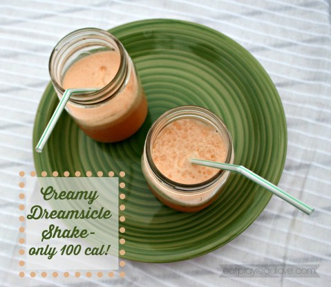 This creamy orange dreamsicle has only 110 calories and is the perfect light treat for spring and summer!