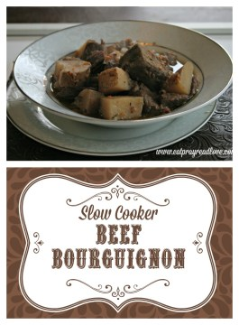 This slow cooker beef bourguignon is a delicious company-worthy dish that simmers all day and makes your whole house smell delicious!