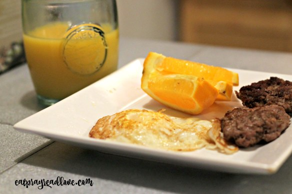 Homemade sausage with eggs for a paleo breakfast