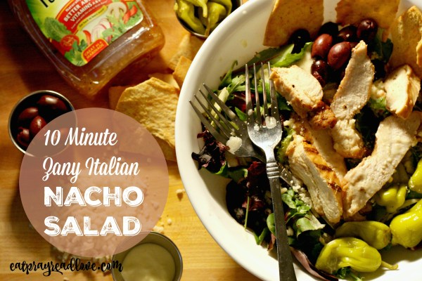 zany Italian nacho salad with grilled chicken and olives