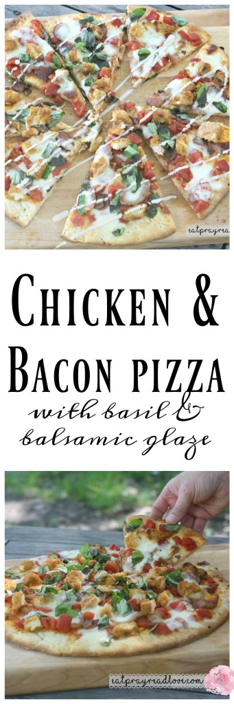 chicken and bacon pizza with basil and balsamic glaze
